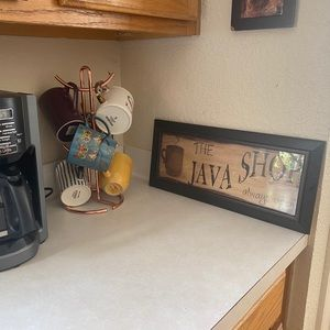 The Java Shop coffee station framed wall art